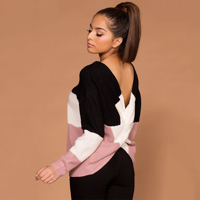 Criss Cross Backless Women Sweaters and Pullovers  2