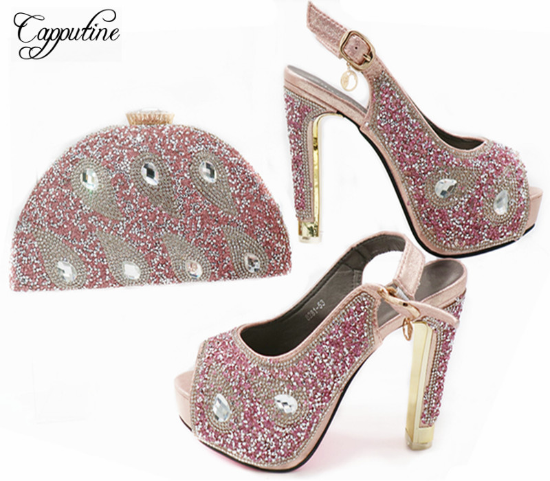 Capputine High Quality Italian Woman Shoes And Bag Set Summer Decorated With Rhinestone Pumps Shoes And Bag For Party G45