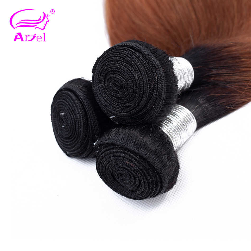 ARIEL Pre-Colored Ombre Brazilian Hair 3 Bundles With Lace Closure 4*4 #1B/30 Straight Hair Weave Remy Hair Human Hair Bundles