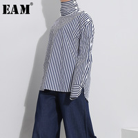 EAM 2018 Spring New Pattern Blue Stripe Stitching High Lead Pullover Loose Tide Long Sleeve