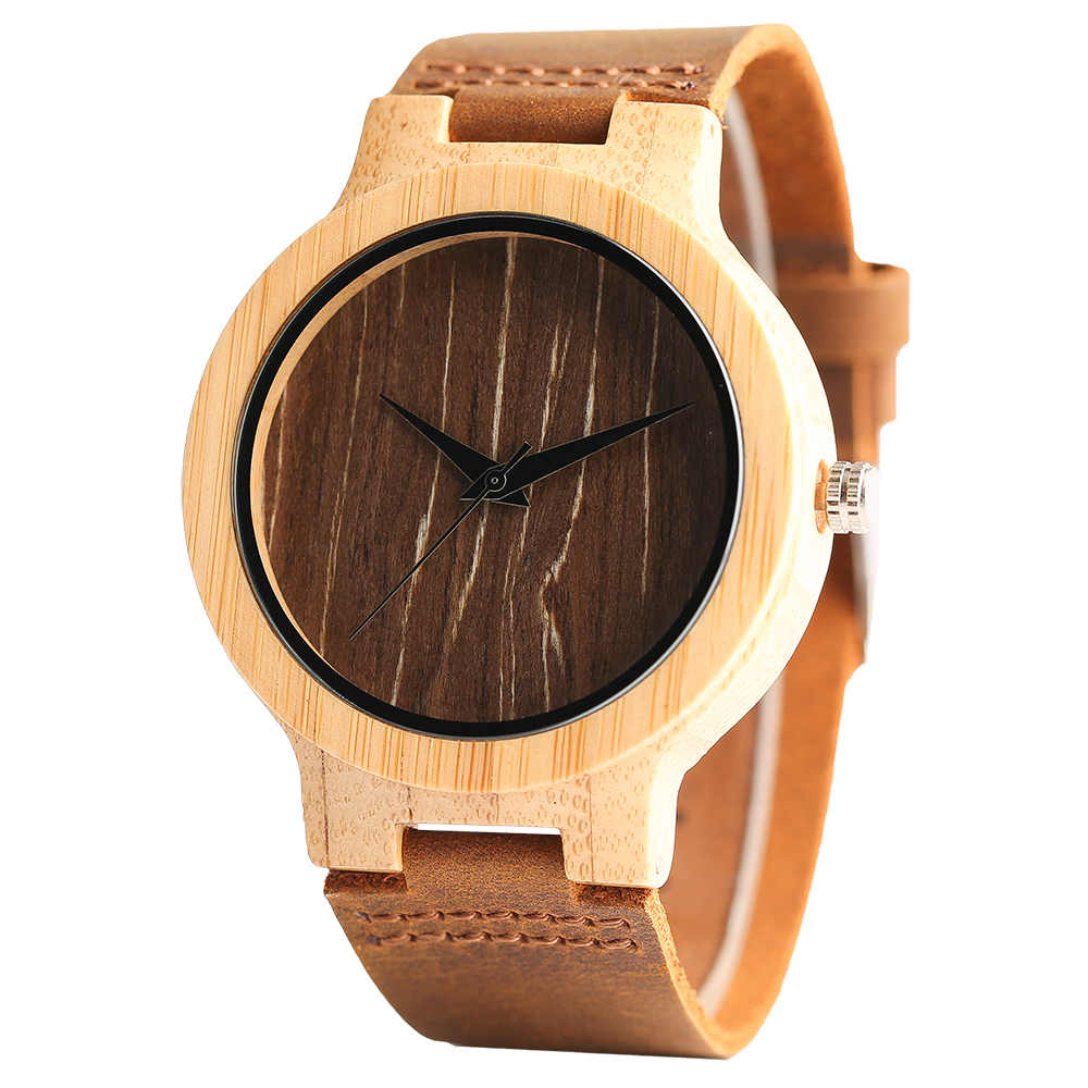 dp movement leather bamboo quartz com cucol strap japanese brown s cowhide with men watches amazon wooden casual watch
