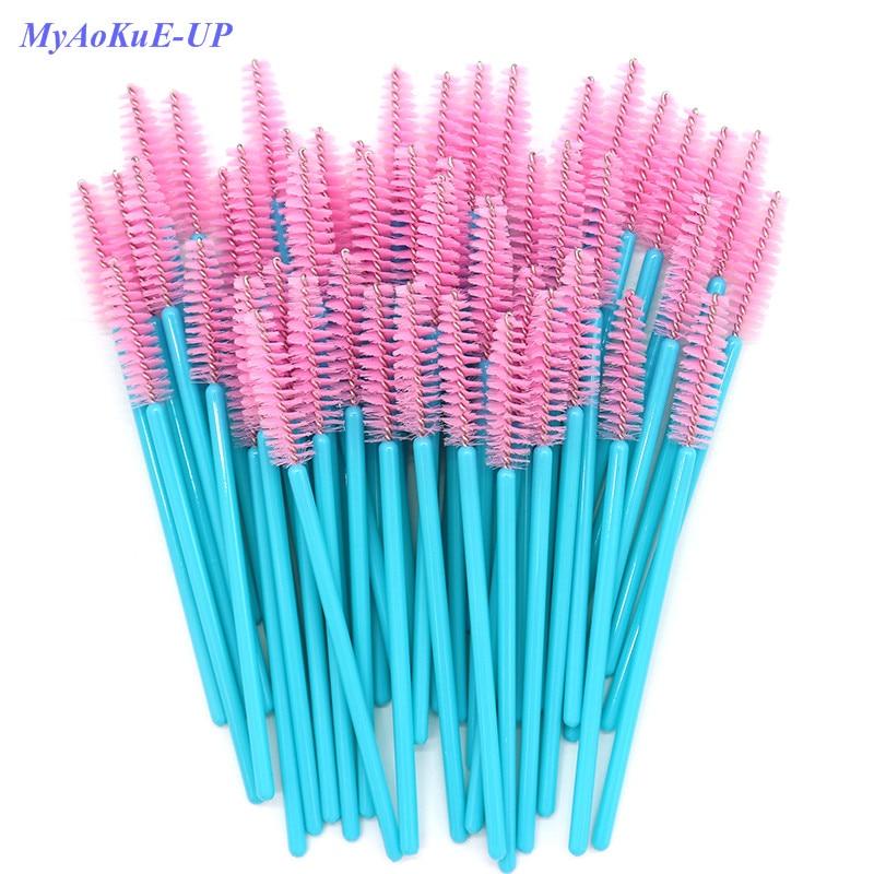 Disposable Mascara Wands Blue Handle Pink Head Lashes Brushes 500pcs/lot Nylon Makeup Brushes Eyelash Extension Tools