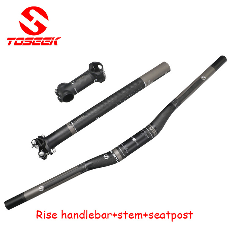 Full Carbon Fiber Cykel Håndtak Set 3k Flat Riser Håndtak + Stempel + Seterstol Mtb Road Mountain Bike Bicicleta Bicycle Parts