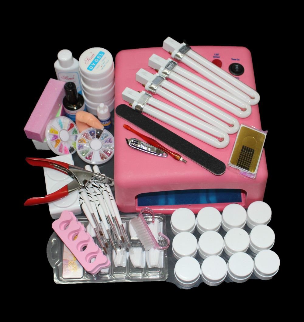 EM-91 FR S Nail Art Tool Full Set 12 Color UV Gel Kit Brush nail Dryer Nail Art Set  36W Curing UV Lamp Kit Dryer Curining Tools nail art full set 36w nail lamp dryer