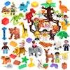 Figuras de animales bloques placa Base accesorios Compatible DIY bloques de construcción juegos de juguetes para regalo de niños