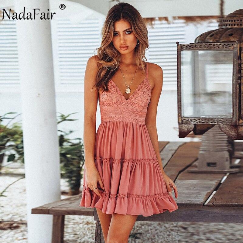 Nadafair ללא משענת V צוואר תחרה טלאי קיץ שמלת נשים רצועה מזדמן מיני אלגנטי מפלגת שמלות