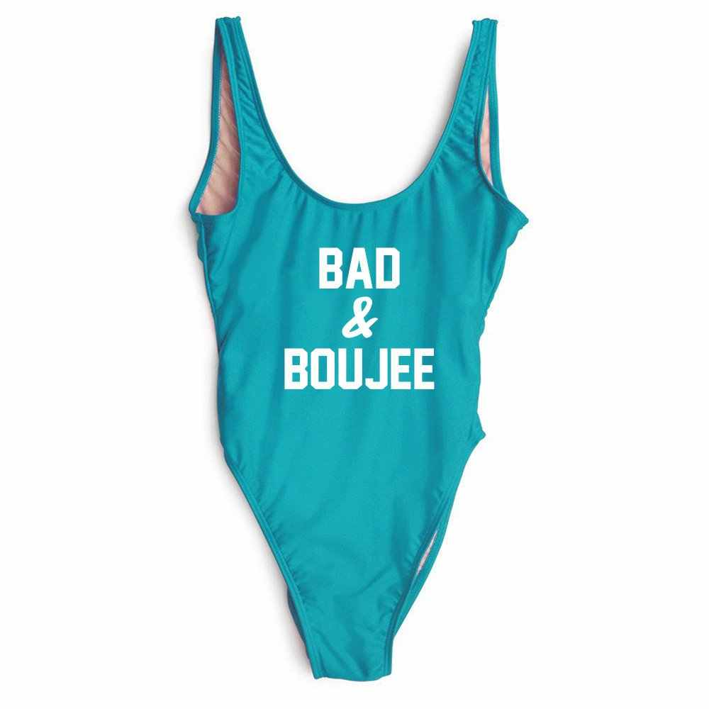 BAD AND BOUJEE SWIMSUIT Women Funny Bodysuit Summer Style Tops Tumblr Swimwear One Piece suits Jumpsuits Rompers