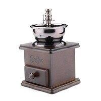 Vintage Italiaanse Koffiezetapparaat Handkoffiemolen Golden tone Gietijzeren Burr Core Hout case Rasp Keuken Accessoires AA