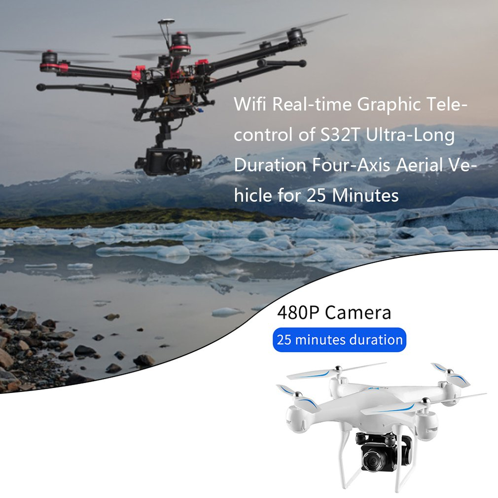 S32T HD Long Using Time Drone With 30W 500W Camera Quadcopter Wifi Real time Graphic Telecontrol RC Drone Helicopter Kids Toys in RC Helicopters from Toys Hobbies