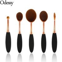 Big Oval Brush Black Rose Golden Makeup Brushes Set 5 Pcs Foundation Toothbrush Cosmetic Make Up