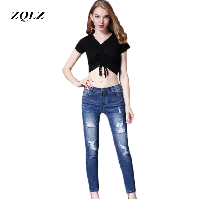 ZQLZ Fashion Ripped Jeans Woman 2018 Skinny Elastic Plus Size S-3xl Washed Ruched Trousers Button Female Denim Pants Femme