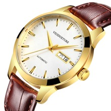 2019 New Automatic Mechanical Fashion Men's Watch, Men's Leisure Watch, Leather Watchband Waterproof Watch leisure automatic mechanical genuine leather waterproof watch with rome digital business for various occasions m163s