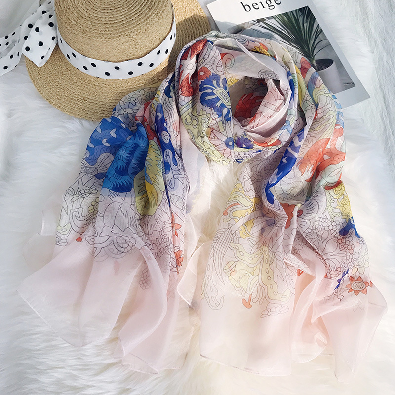 Leayh Female Gauze Kerchief Scarf Large Flower Printed Scarves Sunmer Beach Sunscreen Shawls For Women Wraps 180 130cm in Women 39 s Scarves from Apparel Accessories
