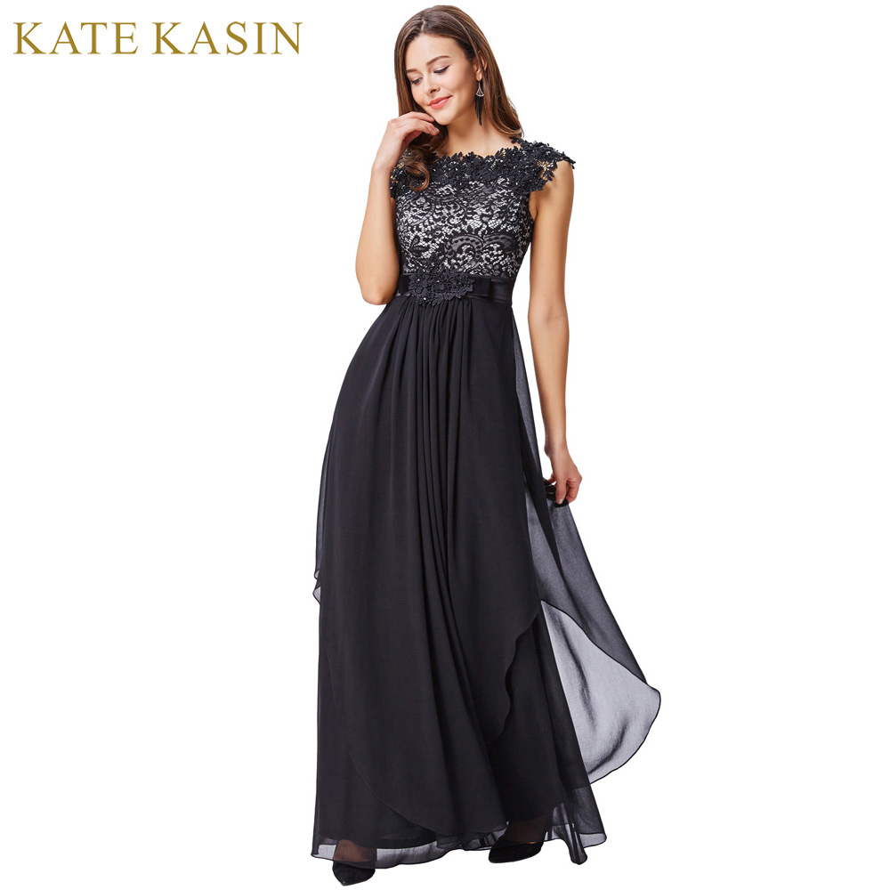 Kate Kasin Lungo Nero In Pizzo Ricamo Prom Dresses 2018 Cheap Sera Chiffon Party Dress Ballkleider Abiti Occasioni Speciali