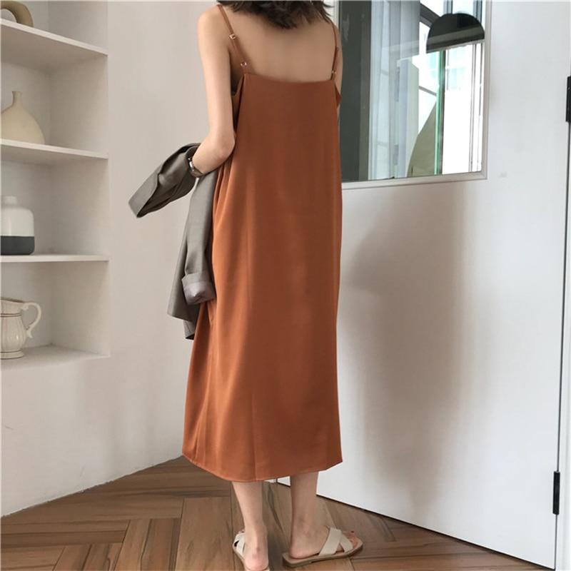 Sexy Women Maxi Dress Loose Sleeveless Dresses V-neck Sling Long Black Party Dress 5