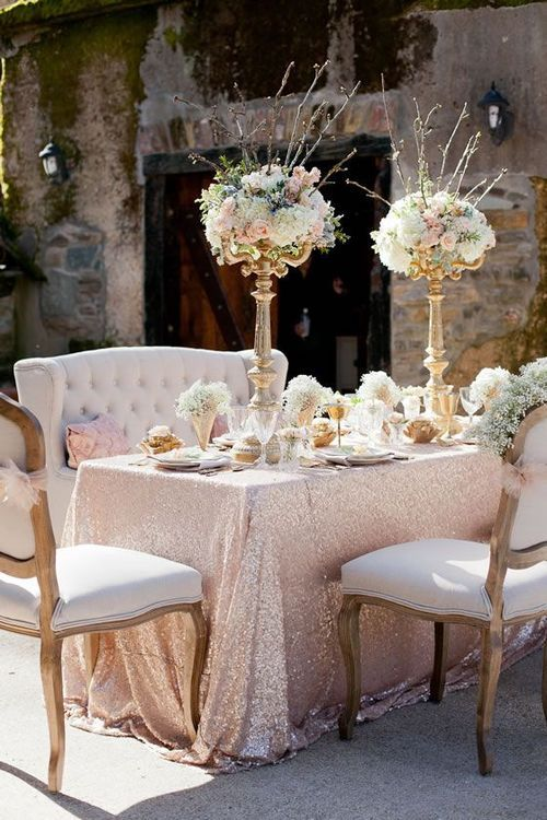 Champagne Table Linens For Weddings Free Shipping 90 132 Rectangle Sequin Tablecloth