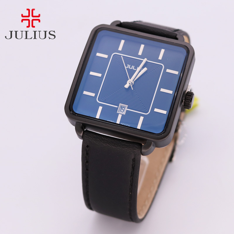Julius Couple Hours Men's Watch Women's Watch Japan Quartz Fine Fashion Leather Clock Square Lovers' Valentine Gift Box