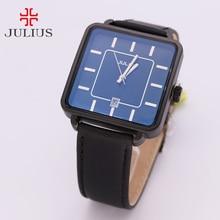 Julius Pareja Horas Hombres Reloj de Cuarzo de Japón del Reloj de las Mujeres Fine Fashion Square Reloj de Cuero Caja de Regalo de San Valentín de Los Amantes