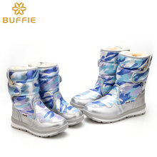 Children and  women snow boots parents shoes Buffie brand winter shoes waterproof  thick  warm  short plush flat with shoes