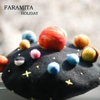 Faramita Holiday Star Wars Colorful the Eight Planets Originality Women Universe Space Hat Girls Warm Berets Wool Felt Hats