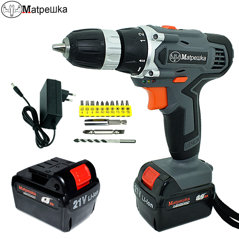 21V Drill multi-function electric screwdriver cordless drill 2 battery rechargeable electric tools +13 gift free shipping brand proskit upt 32007d frequency modulated electric screwdriver 2 electric screwdriver bit 900 1300rpm tools