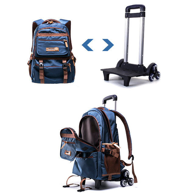 Grades 4-9 Kids Trolley Schoolbag Book Bags Boys girls Backpack waterproof Removable Children School Bags With 3 Wheels Stairs School Bags
