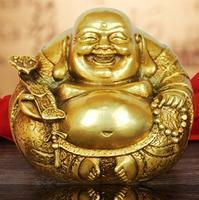 Chinese Fengshui Brass Copper Ruyi Wealth Happy Laugh Maitreya Buddha Statue