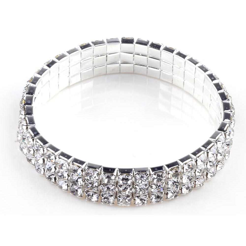Diamantes de imitación Pulsera Ajustable Con Incrustaciones De Mujer Brillante Brazalete Para Fiesta Aniversario