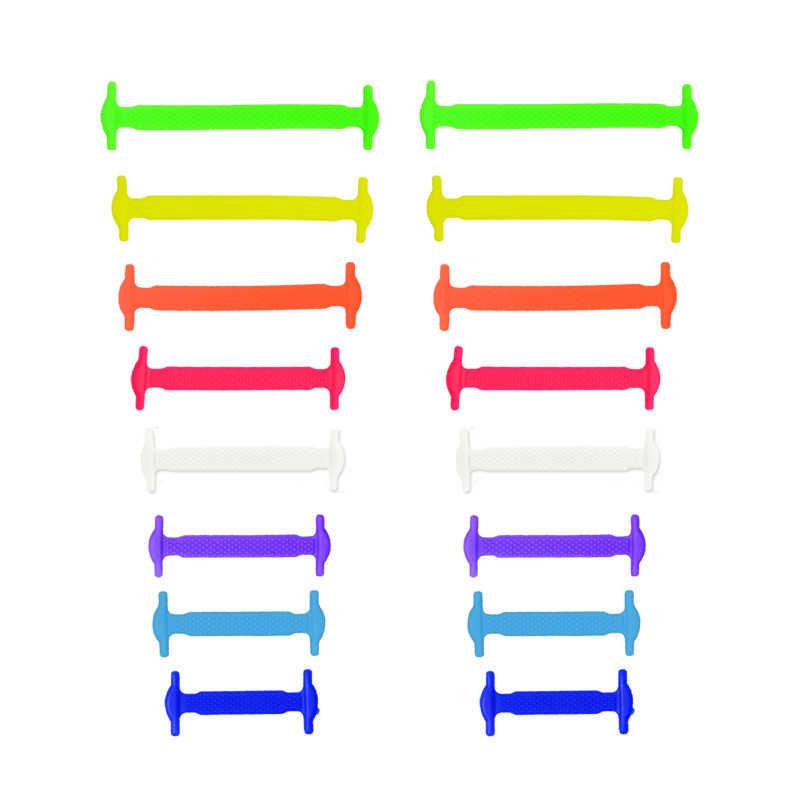 лот 8 Размеры разноцветные шнурки без завязок унисекс эластичные силиконовые  шнурки  Новый 16 шт. 8de07e114435c