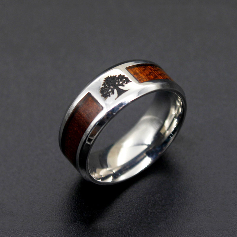 Carbon Fiber Diamontrigue Jewelry: 8MM Stainless Steel Carbon Fiber Ring Wish Tree Of Life
