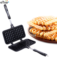 2 Grids Rectangle Shape Waffle Mold Maker Muffin Cake Pan Mould Cast Aluminium Handle with Lock Bakery Family Baking Tool