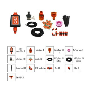 Image 5 - New Double Knob Waterproof Intelligent Timer Drip irrigation System set Micro Spray Watering Controller Garden Watering Device