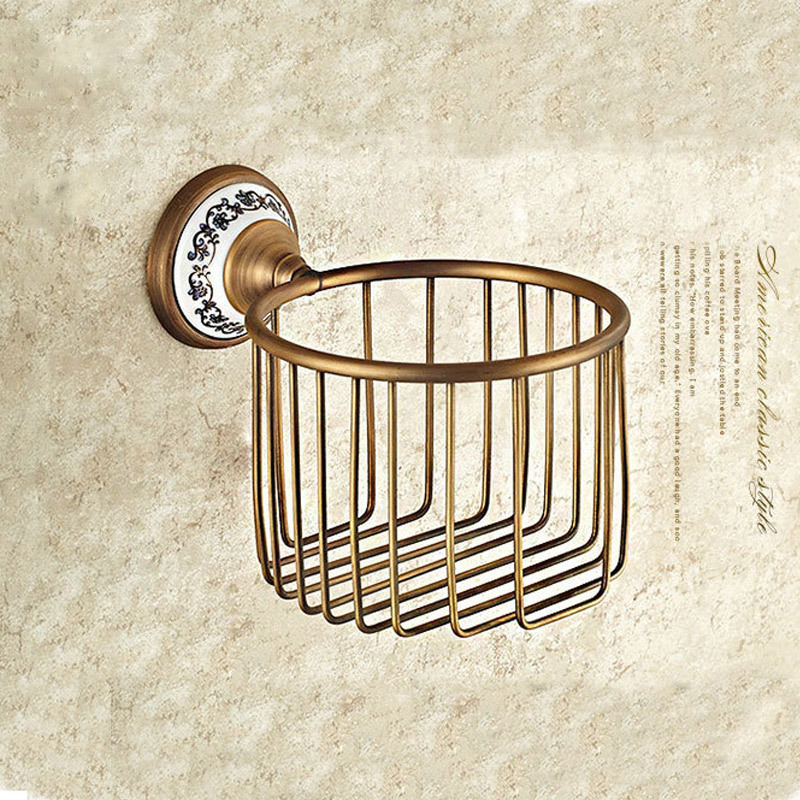 Wall Mounted Antique Brass Finish Bathroom Accessories Toilet Paper Holder bathroom sets ceramic printing toilet roll holder solid brass antique brass bathroom toilet paper holder with brush bathroom accessories wall mounted