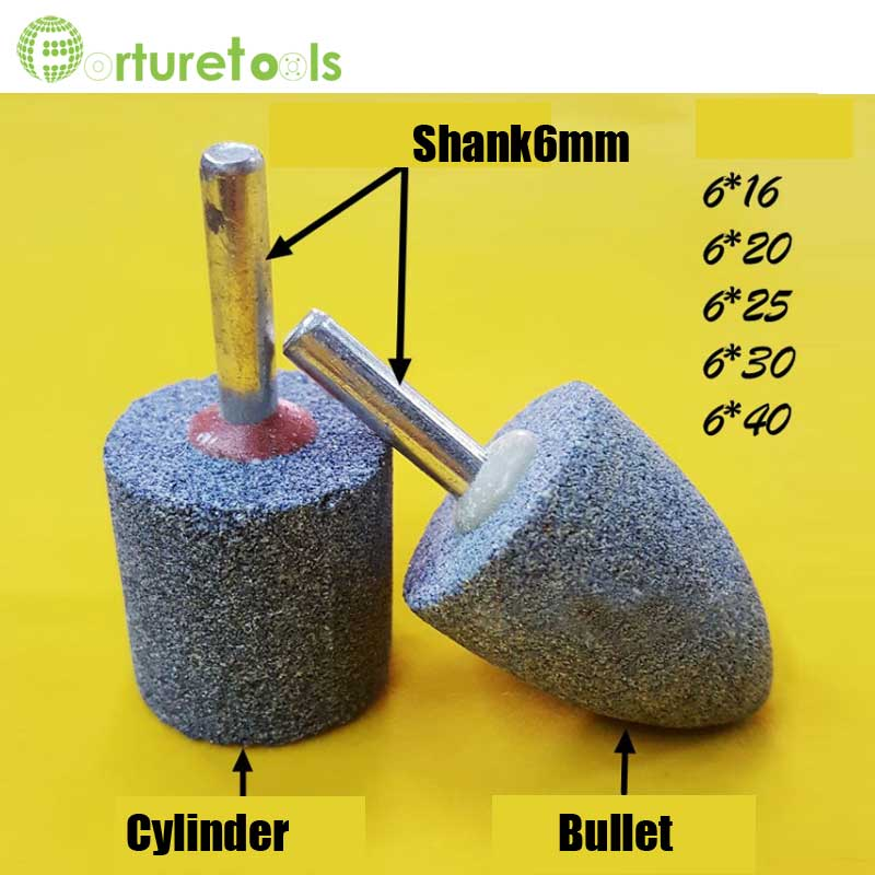 Aluminum oxide mounted point cylinder bullet shape internal grinding head abrasive tools for metal steel rust removal MT024