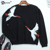 Runway Designer Sweater Women Pullover 2017 New Brand Red Crowned Crane Embroidery Winter Wool Black Chic