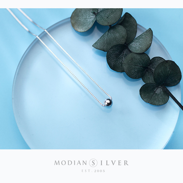 Modian Trendy Tiny Simple Bead Necklace Pendant New Sale 100% 925 Sterling Silver Round Jewelry For Women & Girls Party Gift 3