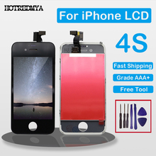 AAA+++ Display LCD For iPhone 4 4G 4S LCD Screen Digitizer with Touch Assembly Replacement No dead pixel Repair Glass