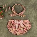 2016 Floral Vintage plissado bebê Bloomers Cover tecido e Headband Set recém-nascido Tutu babados calcinhas bebê meninas do bebê do algodão curto