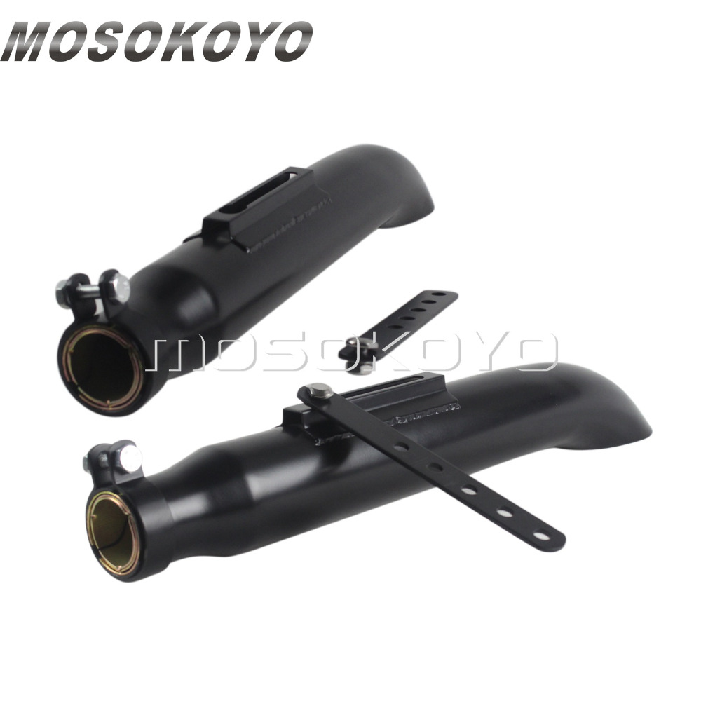 Black Slash Cut 1 Pair Exhaust Muffler Turn Out Tapered Silencer Pipes for Harley Chopper Cafe