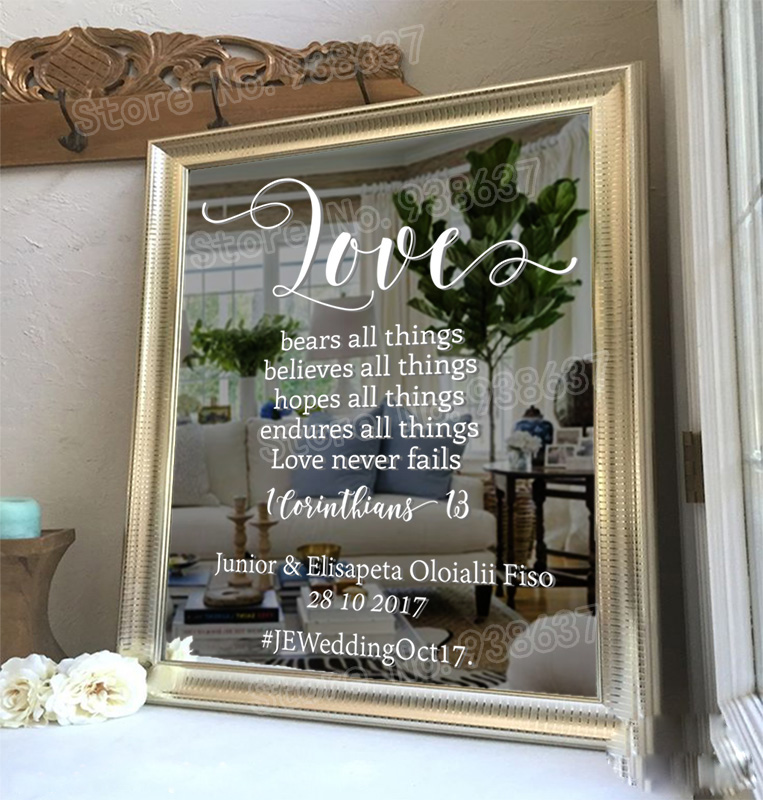 Custom Mirror Wall Decal For Wedding Decor Love 1 Corinthians 13 Bible Reading Personalized Name