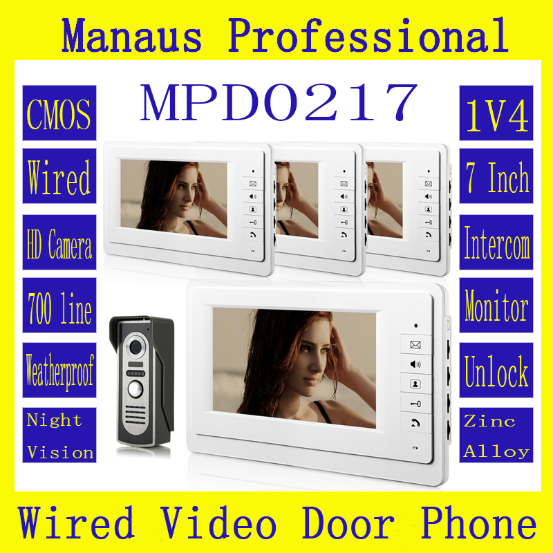 High Quality Wired Smart Home 7 TFT LCD Screen Video Intercom Phone,One to Four Video Doorphone Doorbell Configuration D217a 7 inch video doorbell tft lcd hd screen wired video doorphone for villa one monitor with one metal outdoor unit night vision