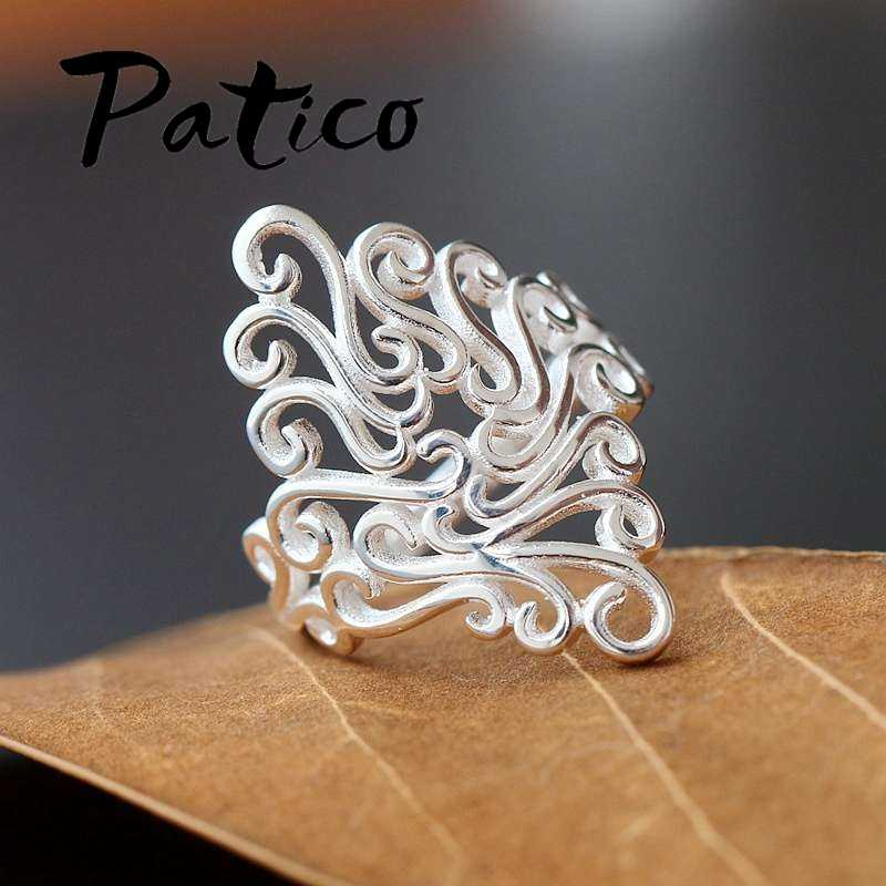 New Fashion Elegant Women Vintage Carved Design Rings 925 Sterling Silver ColorTop Quality Retro Rings Small Quantity Wholesale