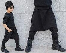 2016 весна хлопок детская Одежда гарем хип-хоп танцевальная мешковатые штаны шаровары штаны костюмы лоскутное дети панк брюки