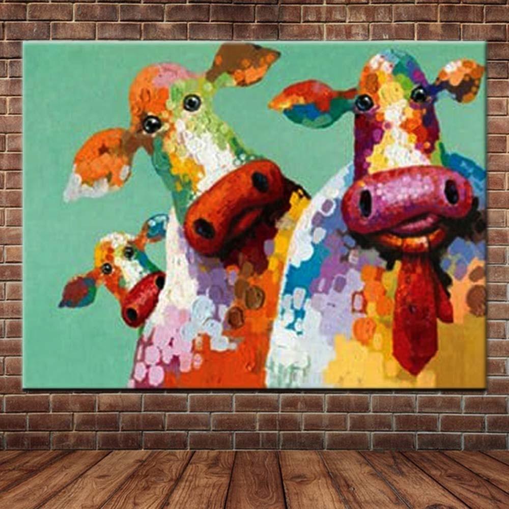 Handgeschilderde abstracte dieren kunst canvas koe cartoon olieverf - Huisdecoratie