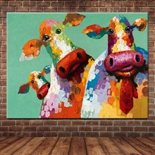 Hand Painted Abstract Animals Art Canvas Cow Cartoon Oil Painting Animal Wall Picture Living Room Bedroom Home Decor