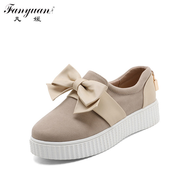 New Arrivals 2017 Spring Women Flat Platform Loafers Sweet Mix-color Butterfly-knot Metal Decor Casual Shoes Slip-on Flats Shoes