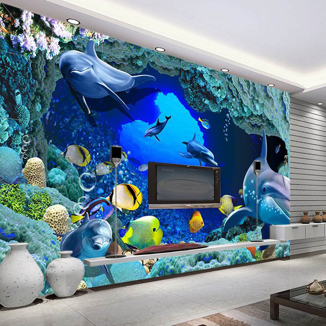 Buy 3d wall murals wallpaper aquarium for 3d aquarium wallpaper for bedroom