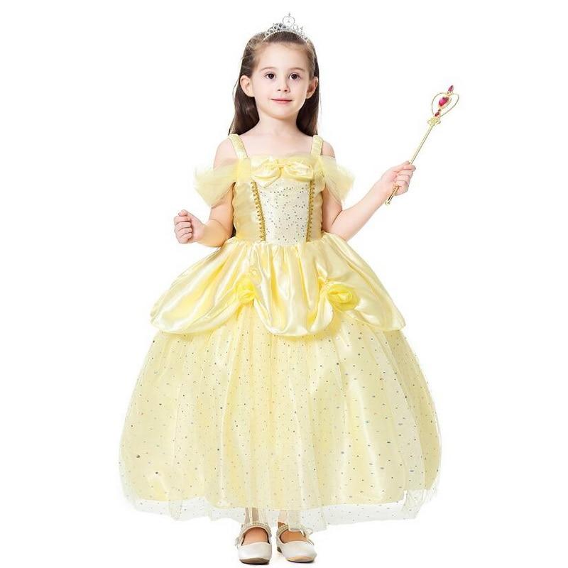 New Yellow Flower Princess Bella Dress Up Girls Party Ball Fancy Dresses Costume