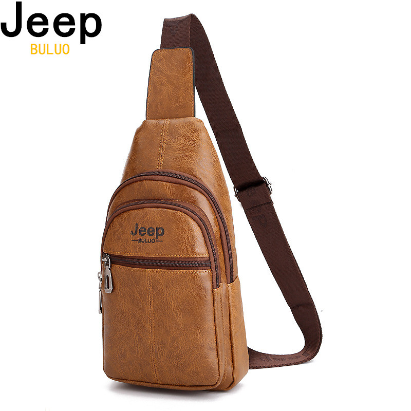 JEEP BULUO Men Sling Bags Men Leather College Chest Bag Corssbody Summer Travel Shoulder Bags Male Drop Shipping