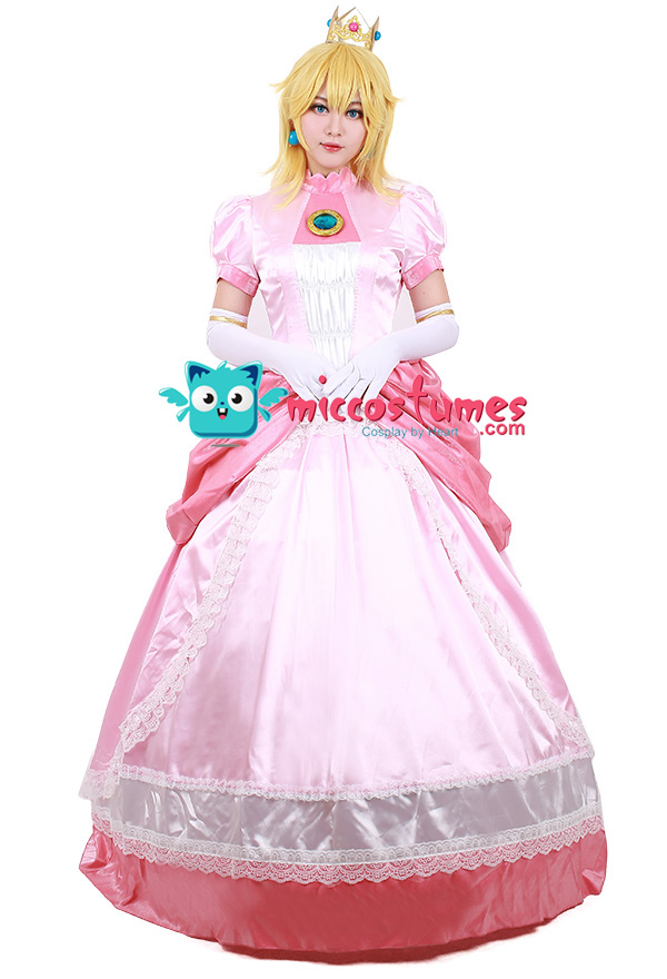 Adult Princess Peach Costume Women Cosplay Pink Dress